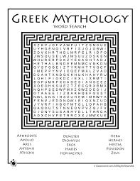 Greek Mythology Word Search Greek Mythology Ancient