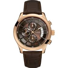 mens guess watches desinger watches from guess anderlini co uk guess men s brown leather strap chronograph watch