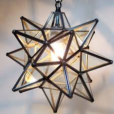 moravian star pendant light clear glass bronze frame 12