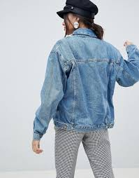 asos design tall denim girlfriend jacket in midwash blue clothing coats jackets for women midwash bl