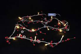 Garland With Red And White Lights Amazon Com 2m Pearl Red Bead Garland With 20 Warm White Led