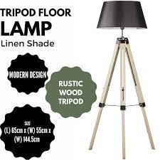 Large Tripod Floor Lamp Linen Shade Modern Light Retro Vintage