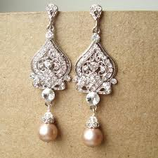 champagne bridal wedding earrings silver filigree by luxedeluxe