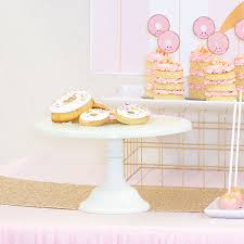 white cake stand donut party