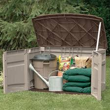 suncast horizontal storage shed built in support for wood shelf
