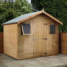 the dip treated 10x8 shiplap tongue groove apex work with double doors from forest offers a great deal of interior space for storage of large