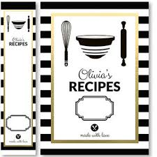 recipes binder cover. Plain Binder Recipe Binder Cover And Spine Insert Set Personalized Black White Stripe  Printable Print Yourself Or Printed Intended Recipes