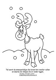 Kleurplaat Sneeuwvlokken Rendier Feestdagen
