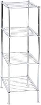 Amazon Com Organize It All 4 Tier Chrome Freestanding Bathroom Storage Shelf Furniture Decor