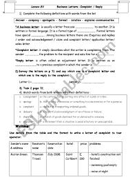 Complain Business Letter Lesson E4 Business Letters Complaint Reply Esl Worksheet