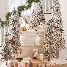 awesome pre lit tabletop christmas trees with snows and string lights and  owls decorated aside to