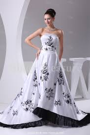 black white strapless puddle train satin church a line wedding