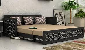 Sofa Cum Bed Betty King Size Black Woodenstreet Throughout Perfect Ideas