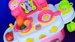 cooking with toy kitchen and velcro cutting fruits and vegetables you