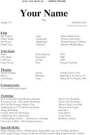 Beginner Actor Resume Extraordinary Acting Resume Template For Word Ideas Backstage Baycabling