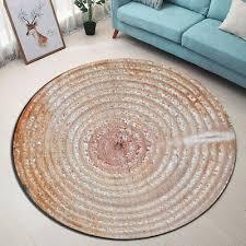 rustic retro wood texture round floor mat bedroom carpet living room area rugs
