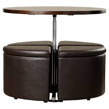 Coffee Table Stool Red Barrel Studio Dempsey Gas Lift Coffee Table With Ottomans