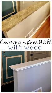 a knee wall before with green granite and after with a wood knee wall cap