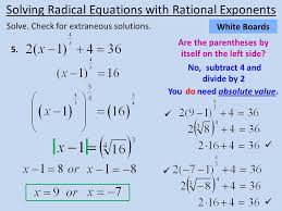 14 solve check for extraneous solutions solving radical equations with rational exponents