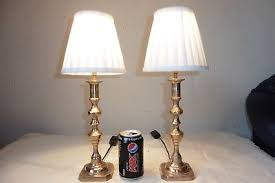 bedside table lamps. Pair Of Vintage Solid Brass Bedside Table Lamps With Shades .