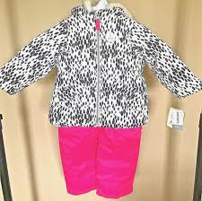 new girls size 4 small snowsuit carters hot pink leopard print bib snow pants