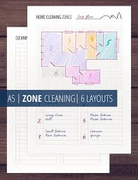 Bathroom Cleaning Schedule Adorable Zone Cleaning Planner Cleaning Schedule Printable Inserts Etsy