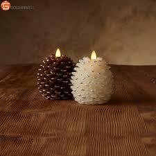Pine Cone Candles Luminara Dancing Flame Paraffin Wax Pinecone Pillar Candle Buy