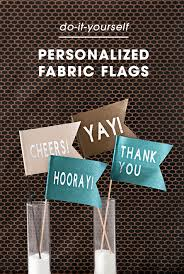 these diy personalized fabric wedding flags are super easy to make with the cricut maker