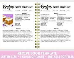 Food Recipe Template Recipe Template Etsy