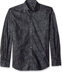 Bugatchi Mens Soft Cotton Shaped Fit Spread Collar Long Sleeve Shirt