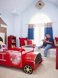 Kids Bedroom Design Boys Bright Kids Bedroom Design With Red Fire Truck Bed Dweefcom