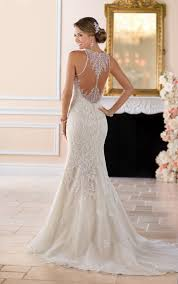 Stella York 6404 High Neck Sheath Wedding Dress Lace Illusion Back