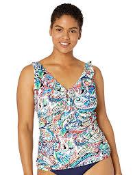 Chaps Swimwear Size Chart Amazon Com Chaps Womens Shirred Ruffle Over The Shoulder