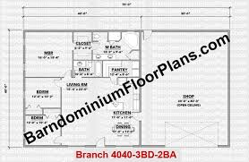 barndominium house plans. barndominiumfloorplans.com | branch 3 bedroom 2 bathroom 40 foot wide barndominium house plans