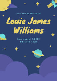 birth announcement templates violet outer space birth announcement templates by canva