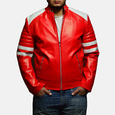 mens monza red leather biker jacket 1