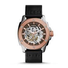 modern machine automatic black leather watch fossil modern machine automatic black leather watch