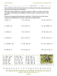 standard form of quadratic equation worksheet