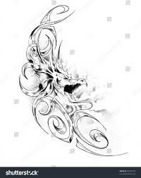 Sketch Tattoo Art Medieval Dragon Stock Illustration 64377700