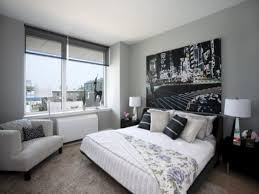 gray black and white bedroom
