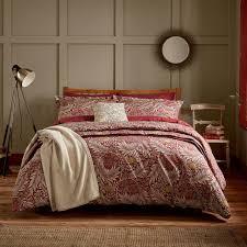 william morris larkspur crimson bedding