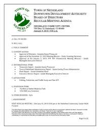 Agenda Of Meeting 1 09 19 Nederland Downtown Development Authority Meeting