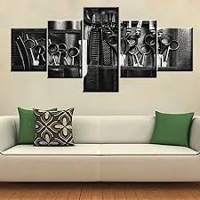 The black salon hair come with enticing offers and excellent performance. Amazon Com Black And White Paintings Professional Haircut Tools Pictures Beauty Salon Wall Art For Living Room 5 Piece Canvas Artwork Giclee Modern Home Decor Framed Ready To Hang Posters And Prints 50 Wx24 H Posters