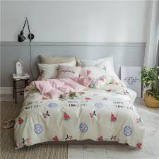 watermelon printed bedding sets pure cotton duvet cover set pink striped bedding set twin bed for girl teen pillowcase navy blue duvet cover queen comforter