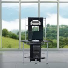 Homcom scrivania ad angolo per computer in legno e ferro nero