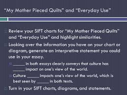 english honors day objective to synthesize information to  my mother pieced quilts and everyday use  review your sift charts for my mother pieced