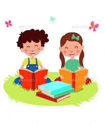 cartoon kids read book landscapes nature