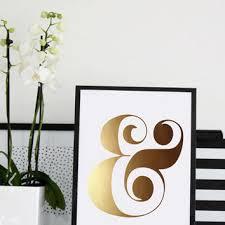 gold ampersand print art print gold foil typography wall art
