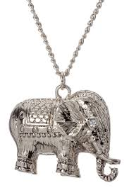 image of stella ruby antique silver elephant necklace