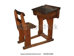 wooden school desk and chair. Vintage Wooden School Desk And Chair, Isolated On A Pure White Background Chair